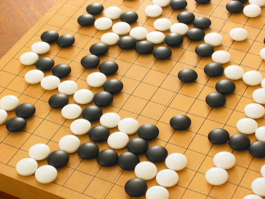 A typical Go game in process