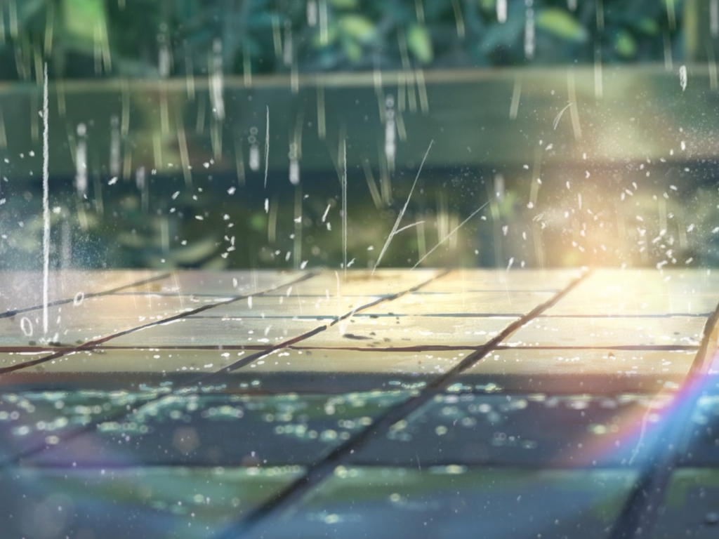 A rainy scene in anime